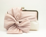 Bridal Clutch / Wedding Clutch / Bridesmaid Clutch Purse (Classic Bow Clutch : Blush on Ivory)