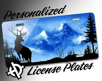 Blue Buck Deer Mountain Scene -AT1063- Airbrush License Plates Personalized Custom Auto Tags