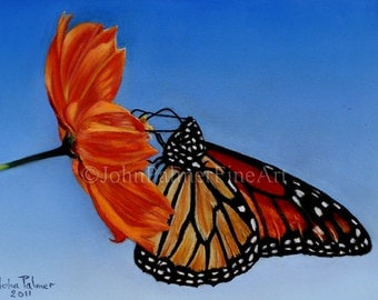 Butterfly painting, butterfly picture, butterfly print from my original pastel painting of a Monarch butterfly.