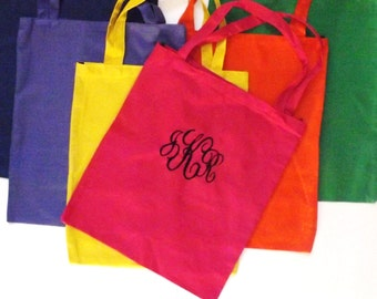 Monogrammed Canvas Market Bag - Pick Color, Font and Thread Color - Name or Initials