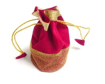 Handmade ethnic 10  Pcs lot ZARI ,VALVET , travel jewellery bag, red pouch, bridesmaids gift,
