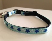 Blue and White Stars Cat Collar