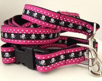 Skull And Dots Leash and Collar Set