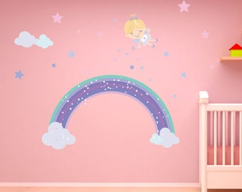 Pixie Rainbow Wall Decal- Reusable, 28 Wall Stickers, Girls fairy decal
