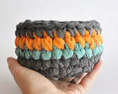 Crochet Basket Bowl Gray Orange Turquoise Stripes Upcycled