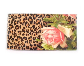 Checkbook Cover - Leopard and Roses - Victorian floral with animal print - shabby cottage chic check book holder - top tear or side tear