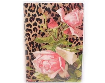 Passport Cover - Leopard print and pink Victorian Roses - pretty passport holder, fits US passports