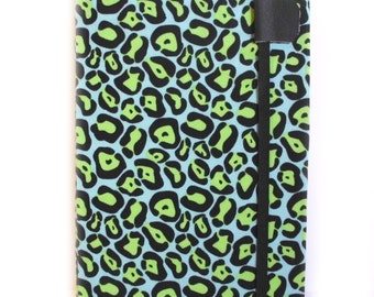 Kindle Touch or Kindle Paperwhite cover - Turquoise Lime Leopard  - hardcover eReader Kindle Case
