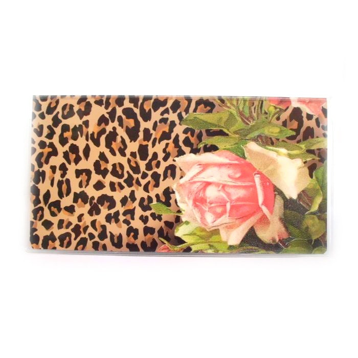Pretty Checkbook Cover : Checkbook cover leopard and roses victorian floral with
