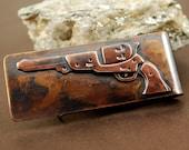 Gun Money Clip, Bronze Frorged Mens Gift