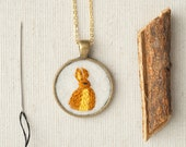 Bunny Rabbit Necklace Embroidered Felt  - Circle Pendant - Woodland Animal - Hare