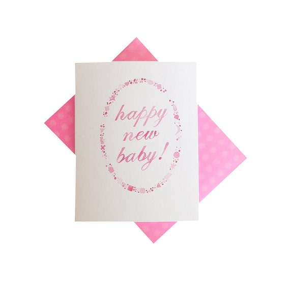 to happy new baby baby shower congratulations card pink on etsy