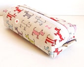 Long box pouch - cute dog print in ivory