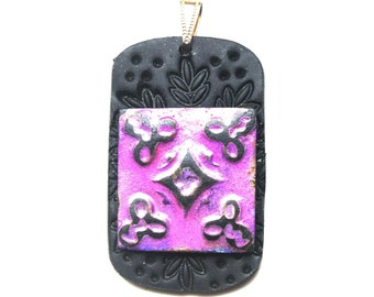 Polymer clay pendant black with antiqued purple tile