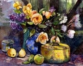 Watercolor Print of Roses and Lilacs Floral Still Life Art Painting DelPesco