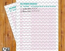 Simple Bill Payment Checklist  Monthly Bills Printable Pink Light Gray Grey Chevron Printable PDF Instant Download