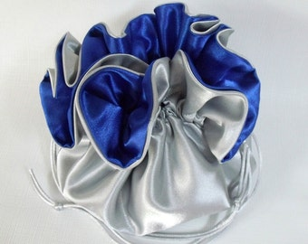 Dollar Dance Wedding Pouch  Silver and Royal Blue No Pockets