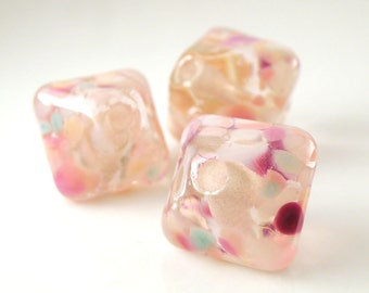Cotton Candy-  Chunky Crystals Trio Handmade Artisan Lampwork Glass Beads 18mm and 14mm - Pinks - SRA (Set of 3 Beads)
