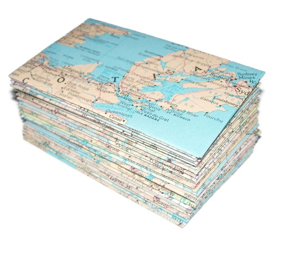 Maps- 48 Mini (Business Card Size) Recycled Envelopes