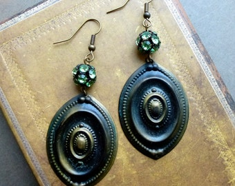 Boho Glam Dangle Earrings with Green Glass Rhinestone Beads and Vintage Brass Stampings. Reclaimed Eco Chic Jewelry