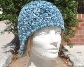 Women's Blue Wool Earflap Hat (Ear flap hat) - Blue Crochet Hat with Earflaps