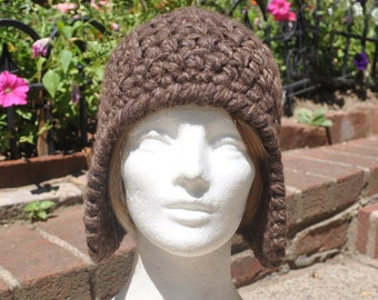 Mocha Brown Earflap Hat (Ear flap hat) - Crocheted Wool Hat