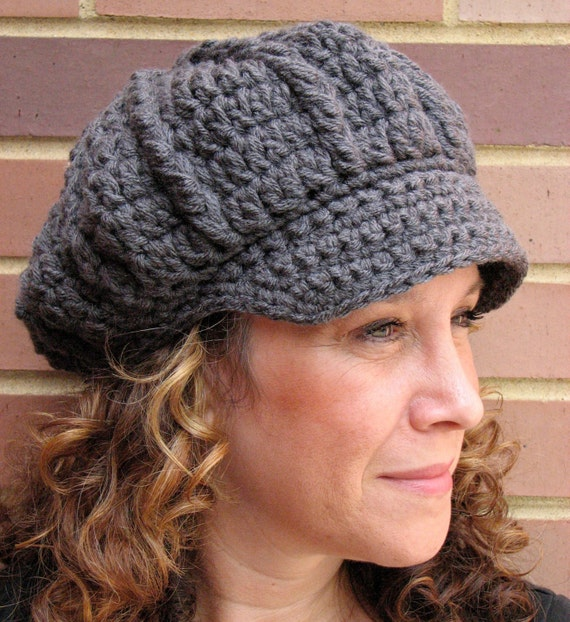 Charcoal Gray Crochet Newsboy Hat - Gray Crochet Hat with Brim for Women - Autumn Women's Accessories - Women's Hat -