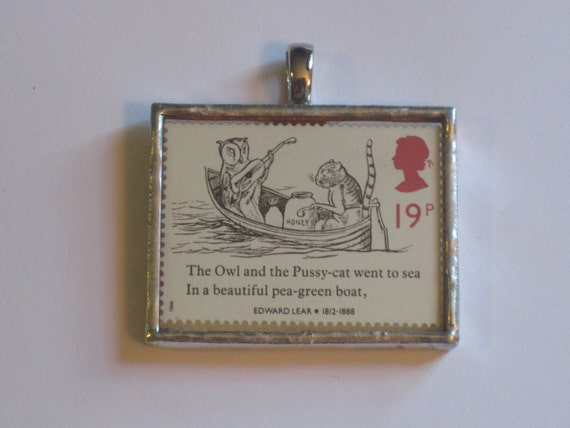 Postage Stamp Pendant - Edward Lear