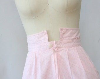 1980s high waisted pale pink skirt