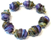 Handmade Glass Lampwork Beads, Purple Rose Raku Whirled