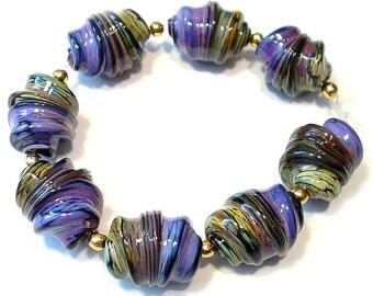 Handmade Glass Lampwork Beads, Purple Rose Raku Whirled