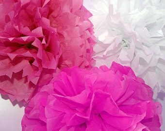 Pink Mexican Tissue Paper Flowers Pom Poms Baby Nursery Decorations Photo Props Candy Bar Backdrop
