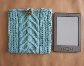 Handknit eReader Pouch Bag 7 x 7 Cotton/Acrylic Yarn Cable Pattern Style Device Protection FREE SHIP