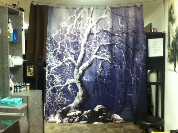 RW2 Shower Curtain Cloth November by Robert Walker tree blue landscape art  surreal grey dead gothic - Gothic Shower Curtain Show Home Design