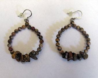 Handmade Leopardskin Jasper Hoop Earrings