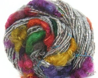 Handspun Art Yarn corespun handcarded sparkly Merino BFL Wensleydale wool tencel
