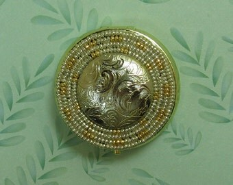 Hand Beaded Silver and Gold Embossed Design Pill Box