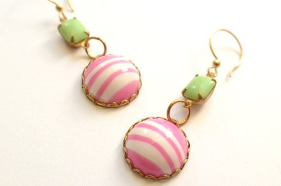 The Cabana- Pink and White Cabachon Earrings