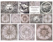WIND COMPASS ROSES digital collage sheet, vintage images, mandala antique ephemera altered art, sun medieval steampunk Download printables