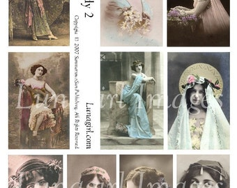 PRETTY LADY No2, digital collage sheet vintage photos images Victorian Edwardian women girls altered art ephemera cards classical DOWNLOAD