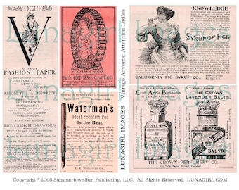 VICTORIAN ADS, digital collage sheet, ladies, vintage images, pink ephemera, print, women, advertising, altered art, steampunk DOWNLOAD