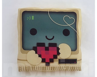 Geek Pillow, Computer Pillow, Vintage, Retro, 8bit Heart, I Love You, Nerdy Pillow, Toy Pillow, Throw Pillow, Kawaii, Dorm Decor, 7 x 7""