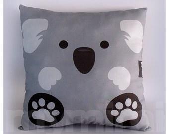 "12 x 12"" Pillow, Koala Bear Animal Pillow, Stuffed Animal, Room Decor, Kids Room Decor, Children's Pillow, Kids Toys, Grey Pillow"