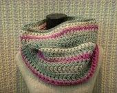 Striped Cowl, Ivory, Seafoam, Fuchsia, Gray Chunky Crochet Cowl