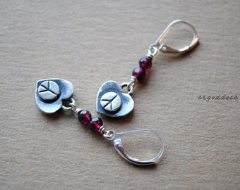 PEACE HEARTS all sterling silver and faceted garnet leverback earrings by srgoddess