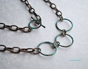 CIRCLES patinated verdigris circles and vintaj chunky chain necklace by srgoddess