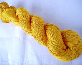 Hand dyed silk lace yarn, hand painted silk yarn, SAFFRON, lace weight yarn, silk weaving yarn, yellow silk, silk yarn, 830yds
