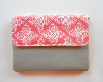 Nexus 7 Case, Nexus 7 Cover, Nexus 7 Sleeve - Coral Lace - Custom sizing available for other tablets or readers