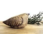 Woodland Sparrow Bird in Earthy Brown Stoneware, Faux Bois Woodgrain
