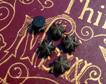 5pcs Tiny ANTIQUE MOURNING STARS French Jet Glass Style A